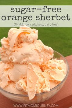 Sugar Free Orange Sherbet - Fit Mom Journey - - My Sugar Free Orange Sherbet is so good, they'll take you back to childhood - and you won't miss the carbs! Of course, they also contain tons of healthy ingredients that my old doesn't even notice! Diabetic Desserts, Sugar Free Desserts, Sugar Free Recipes, Low Carb Desserts, Diabetic Recipes, Low Carb Recipes, Frozen Desserts, Sugar Free Gelato Recipe, Sugar Free Sherbet Recipe