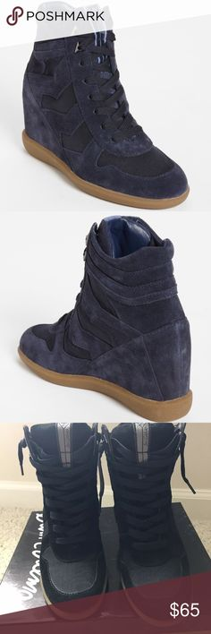 """Sam Edelman 'Bennett' Wedge Sneaker Mesh chevrons angle down a high-top sneaker with retro attitude. 4"""" heel. Synthetic upper, lining and sole. Sam Edelman Shoes Wedges"""