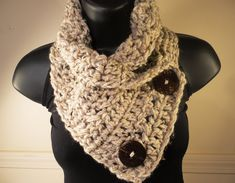 Crochet Scarf Cowl with Buttons Neckwarmer Oatmeal Tan Off White with Flecks. $28.00, via Etsy.