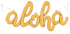 "45"" Air Filled Only Aloha Script - Gold Foil Balloon 