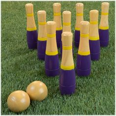 Strive for precision with this 8-inch Hey! Play! lawn bowling skittle ball game. Knock down the included 10 yellow and purple wooden pins using either of the two balls provided to earn a perfect strike. This Hey! Play! lawn bowling skittle ball game is packed in the branded mesh bag for easy carrying. Kids Outdoor Play, Bowling Pins, Buy Buy Baby, All Kids, Purple Yellow, Beach Party, Skittle, Lawn, Cool Things To Buy