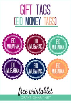 Give Eidi to kids in any envelopes this Eid and make them presentable with vibrant Eid money tags free printables with traditional Eid Mubarak text we love. Eid Crafts, Ramadan Crafts, Ramadan Decorations, Paper Crafts, Free Printable Gift Tags, Free Printables, Printable Stickers, Eid Mubarak Gift, Ramadan Mubarak