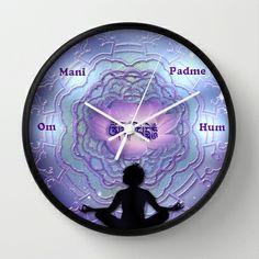 Om Mani Padme Hum - mantra art by Giada Rossi Wall Clock by Giada Rossi - $30.00