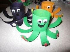Octopus Craft for Ocean theme. Finding so many great TP tube crafts- I knew I'd been saving them for good reason!!