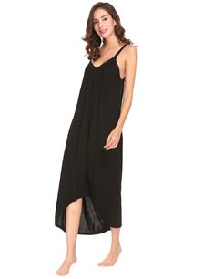fa4bd3e6dd Ekouaer Womens Sleeveless Long Nightgown Summer Slip Night Dress Cotton  Sleepshirt Chemise Ablack 6696 Medium -- Want additional info  Click on the  image.