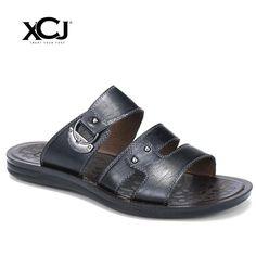 29eb3e173c36 XCJ Summer Men Sandals Genuine Split Leather Men Beach Sandals Brand Men  Casual Shoes Flip Flops