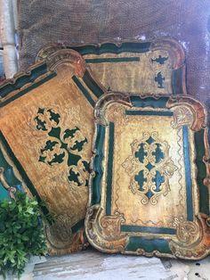 Set of Three Florentine Trays Green and Gold by Tonyssmallworld