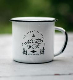 Morning coffee in the Northwest is a must. So whether you're in the woods or in the office, your coffee game just got a little stronger. - - Enamel/steel - Graphic printed on both sides - Hand wa Cute Coffee Mugs, Cool Mugs, Tea Mugs, Coffee Cups, Coffee Is Life, Coffee Shop, Tassen Design, Coffee Games, Camping Coffee