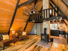 A-Frame Cabins Archives - Rustic Design A Frame Cabin, A Frame House, Mount Rainier Cabin, Barn Parties, Cabin In The Woods, Rustic Design, Tiny House, Living Spaces, House Plans