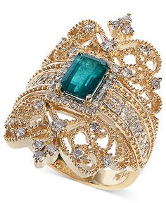 Brasilica by EFFY® Emerald ct.) and Diamond .- Brasilica by EFFY® Emerald ct.) and Diamond ct.) Ring in Gold, Created for Macy's Brasilica by EFFY Emerald ct.) and Diamond ct.) Ring in Gold - Diamond Jewelry, Gold Jewelry, Jewelry Box, Jewelry Rings, Vintage Jewelry, Jewelry Watches, Jewelry Accessories, Fine Jewelry, Diamond Rings