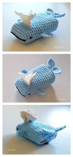 "Crochet Bag Whale Tissue Cozy Free Crochet Pattern - If you don't have a tissue box cover, then the Tissue Cozy Free Crochet Patterns are for you. They also make a great stocking stuffer or ""last minute"" gift. Crochet Diy, Crochet Amigurumi, Crochet Home, Love Crochet, Crochet Gifts, Crochet Bags, Crocheted Purses, Knitting Projects, Crochet Projects"
