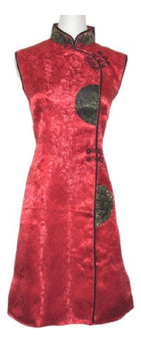Robe tunique chinoise traditionnelle rouge