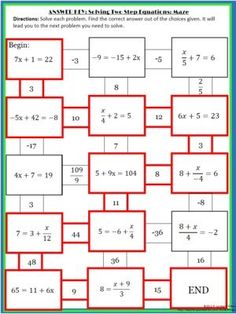 two step equation maze Solving 2 Step Equations Maze From 4 The Love Of Math On Two Step Equation Maze Two Step Equations, Algebra Equations, Solving Equations, Math Teacher, Math Classroom, Teaching Math, Algebra Activities, Math Resources, Maths