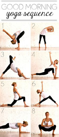 Good morning yoga sequence.  Love that these poses can be done at home without equipment.