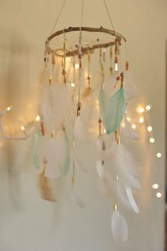 Blue and White Feather Dreamcatcher Nursery Decor   DreamkeepersLLC on Etsy