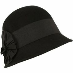 Wool Winter Cloche Bucket Bell Ribbon Bow Hat Black with Black Hatband SK Hat shop. $21.95