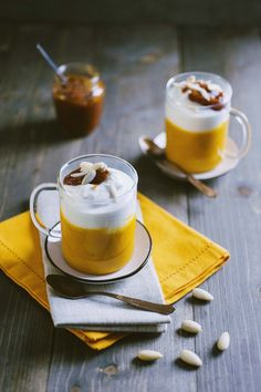 Pumpkin Cappuccino served in original glasses and ready to eat