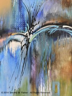 "Abstract Painting, Contemporary Art, ""Rain #1"" Artist Tim Parker - Art2D Gallery, Modern Art Original Paintings and Fine Art Prints"