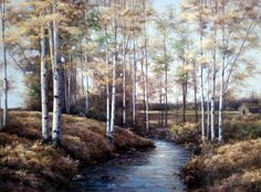 Artist Diane Romanello Unframed Landscape Fall Art Print Birch Creek | WildlifePrints.com