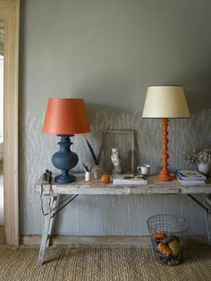 Pooky lamps in Farrow and Ball hague blue add a lovely autumnal feel to an interior design scheme