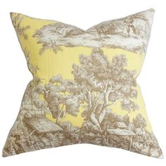 Evlia Toile Cotton Throw Pillow