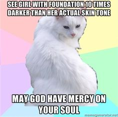 Sephora's Beauty Addict kitty, white cats kittens cosmetics makeup memes, funny humor, - see girl with foundation 10 ten times darker than her actual skin tone , may god have mercy on your soul! Makeup Humor, Makeup Quotes, Makeup Stuff, Funny Makeup, Nail Quotes, Makeup Puns, Tech Quotes, Sexy Makeup, Nail Stuff