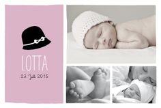 Geburtskarte Kleine Lady by Marion Bizet  für Rosemood.de #babykarte #mädchen #rosa #hut