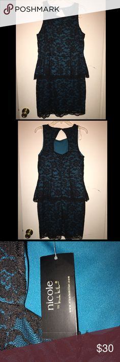 Black lace dress with teal underlay Never worn, smoke free home, tags still on size Large. nicole  by Nicole Miller dress Nicole by Nicole Miller Dresses Mini
