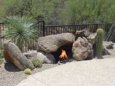 OUTDOOR FIREPIT WITH BOULDERS | fire pit made of boulders