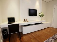 Master bedroomTV unit with extended desk in  white