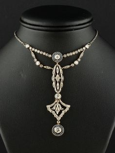 RARE Edwardian Diamond and Sapphire Target Necklace - 18Kt Gold, Platinum w' A Sparkling 2.00 Ct of Diamonds, 42 natural cut Sapphires approx .85 Ct that gives this Stunning Necklace some serious Dazzle & Glamour by 'AntiqueVelvetGloves' on Etsy✿≻⊰❤⊱≺✿
