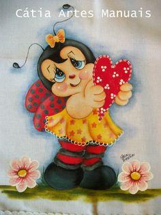 Joaninha com passo a passo da pintura no meu site  http://www.catiaartesmanuais.com/