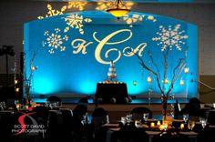 Winter themed wedding at Orlando's Lake  Mary Events Center.  LED Lighting by Soundwave, djsoundwave.net