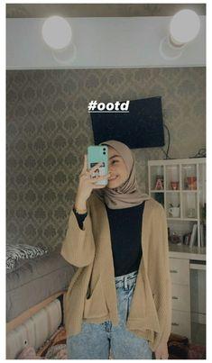 Casual Hijab Outfit, Ootd Hijab, Hijab Chic, Cardigan Outfits, Cardigan Fashion, Casual Outfits, Fashion Outfits, Modern Hijab Fashion, Street Hijab Fashion