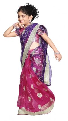 For YOUR Little Princess - Pre-Stitched Ethnic Indian Sarees - Buy HEER - Pink and Purple Net and Shimmer Half and Half Ready made Saree Online - Girls Clothings - 10kya.com Kids Store Rs. 1499 or USD 28, Shipped Globally