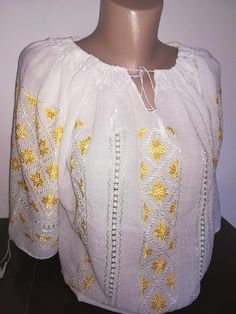 Shop Women's blouse with traditional embroidery br from REAL's shop in Blouses, available on Tictail from Blouses For Women, Ruffle Blouse, Traditional, Embroidery, Lace, Long Sleeve, Sleeves, Shopping, Tops