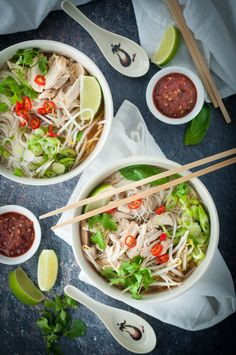 Quick and easy chicken pho (Vietnamese noodle soup). This chicken pho soup is perfect Vietnamese comfort food. It'll warm you up on a cold winter day! This version is also quick and easy to make. Easy Chicken Pho Recipe, Chicken Pho Soup, Thai Chicken Noodles, Vietnamese Recipes, Vietnamese Noodle, Asian Recipes, Healthy Recipes, Ethnic Recipes, Asian Desserts