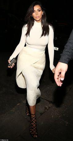 Kim Kardashian - long Sleeve Top & High Waste Cream Wrap Skirt
