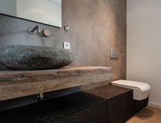 Haus in Stadtnähe Wood Sink, Bathroom Design Inspiration, Moroccan Interiors, Natural Interior, Bathroom Design Luxury, Bathroom Styling, Bathroom Ideas, Contemporary Bathrooms, Guest Bath