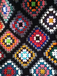 Grandma Powell had a granny square afghan over the back of her sofa.