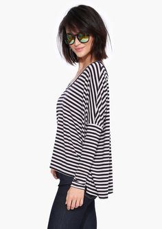 Rachel Stripe Top in Navy   Necessary Clothing
