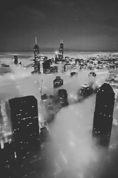 Foggy city photography black and white sky city lights clouds fog buildings