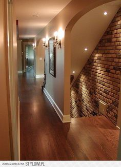 brick wall and recessed lights