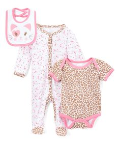 Baby Mode Pink Kitty Cat Footie Set - Infant | zulily