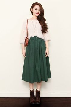 Retro High Waist Midi Skirt : The Art of Vintage-inspired & Cute Women's Clothing | Larmoni