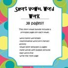This short vowel bundle includes 7 printable pages for each vowel.      -word family worksheet  -real/nonsense word sort literacy activity  -vowel book...