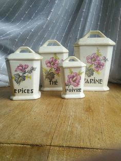 Vintage French Porcelain Kitchen Canister Set Flowers Lids Art Deco by FromParisToProvence on Etsy