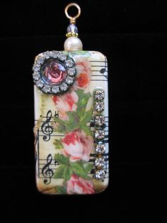 Spring Rose  Domino Pendant Vintage by LeapingFrogDesigns on Etsy, $14.95