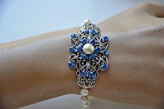 Bridal Pearl BraceletSwarovski Crystal Sapphire by cynthiacouture