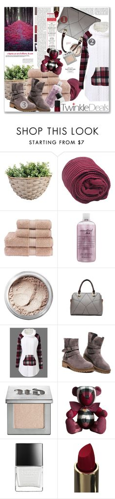 """""""Twinkledeals - Cable Knit Plaid Trim Sweater"""" by paulioo ❤ liked on Polyvore featuring Christy, philosophy, Bare Escentuals, Urban Decay, Burberry, Butter London and NARS Cosmetics"""